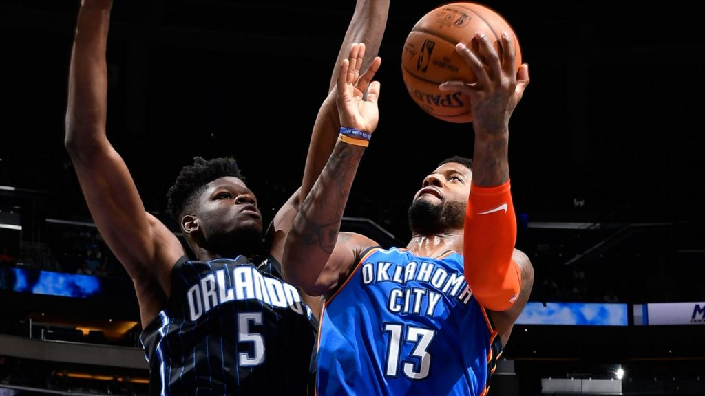 Paul George scores 31 first-half points as Oklahoma City