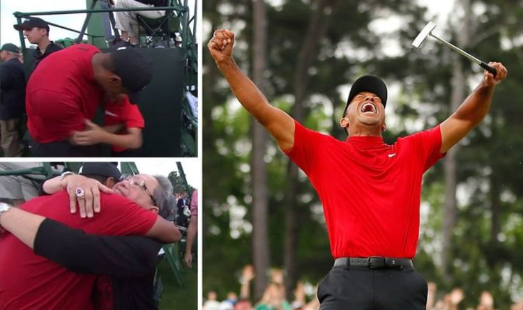 7e5440bb Tiger Woods fights tears as he hugs son, daughter, crying mum in emotional  Masters scenes | Tell My Sport